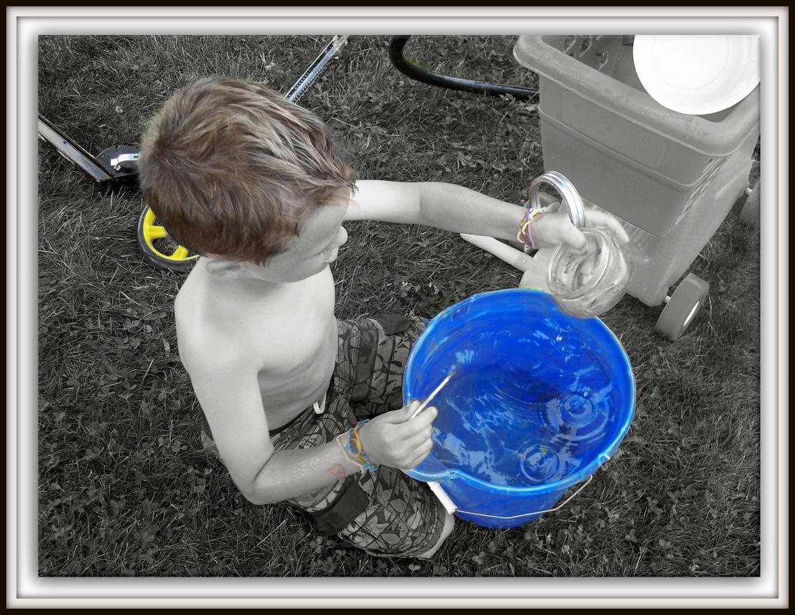 t bucket outside b w n color copy framed