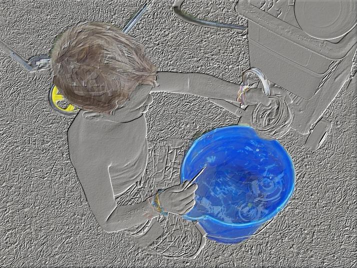 t bucket outside b w n color emboss
