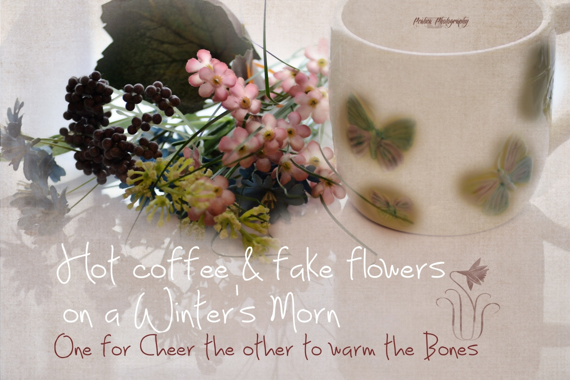 fake flowers hot coffee copy