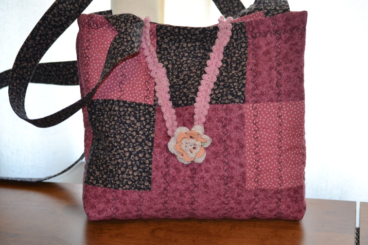 Quilted Patchwork bag with my crocheted closure