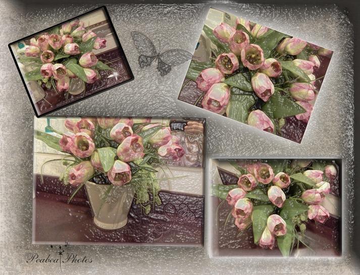 Floral Collage for Pixel Dust Art plastic wrap