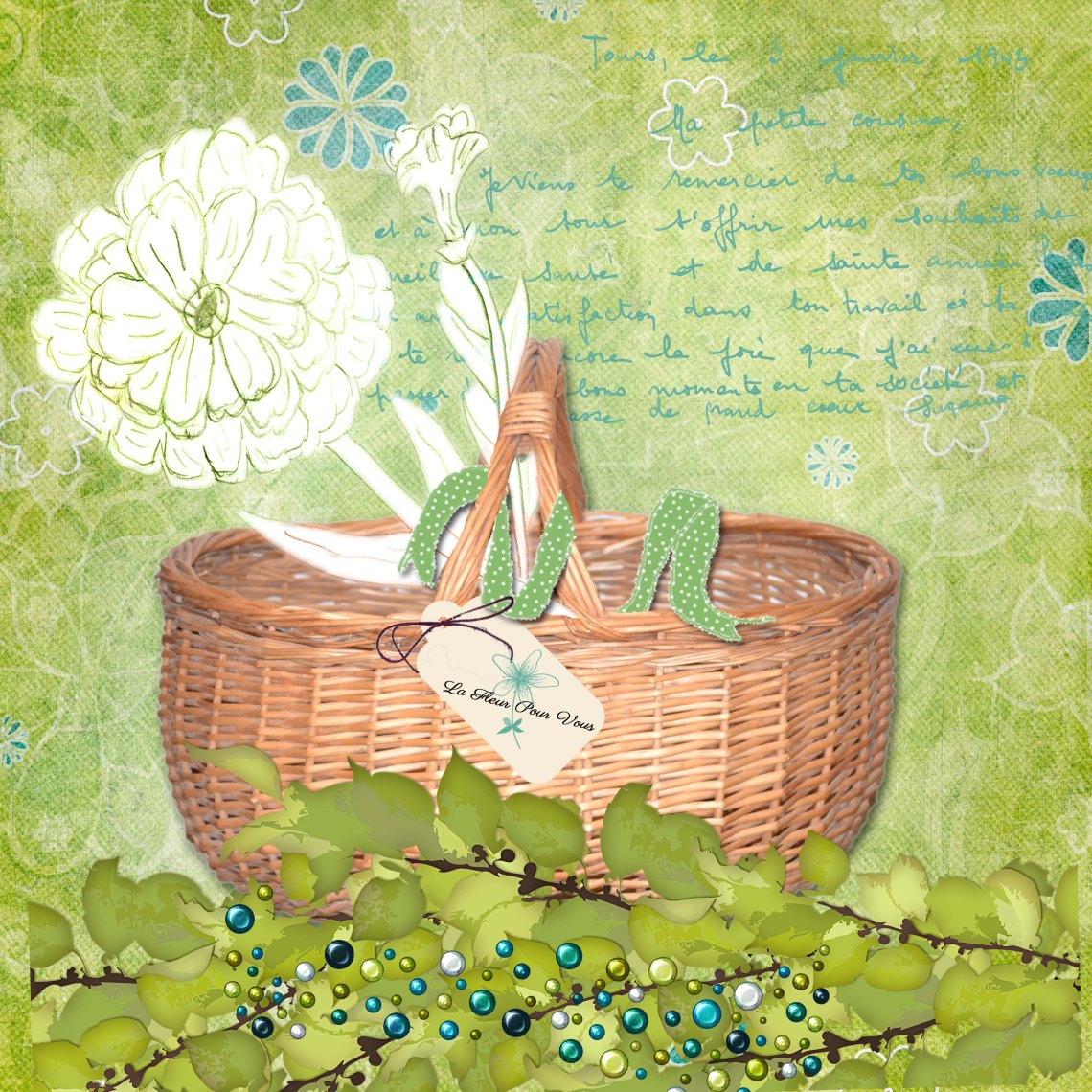 Flower in a basket scrabook page