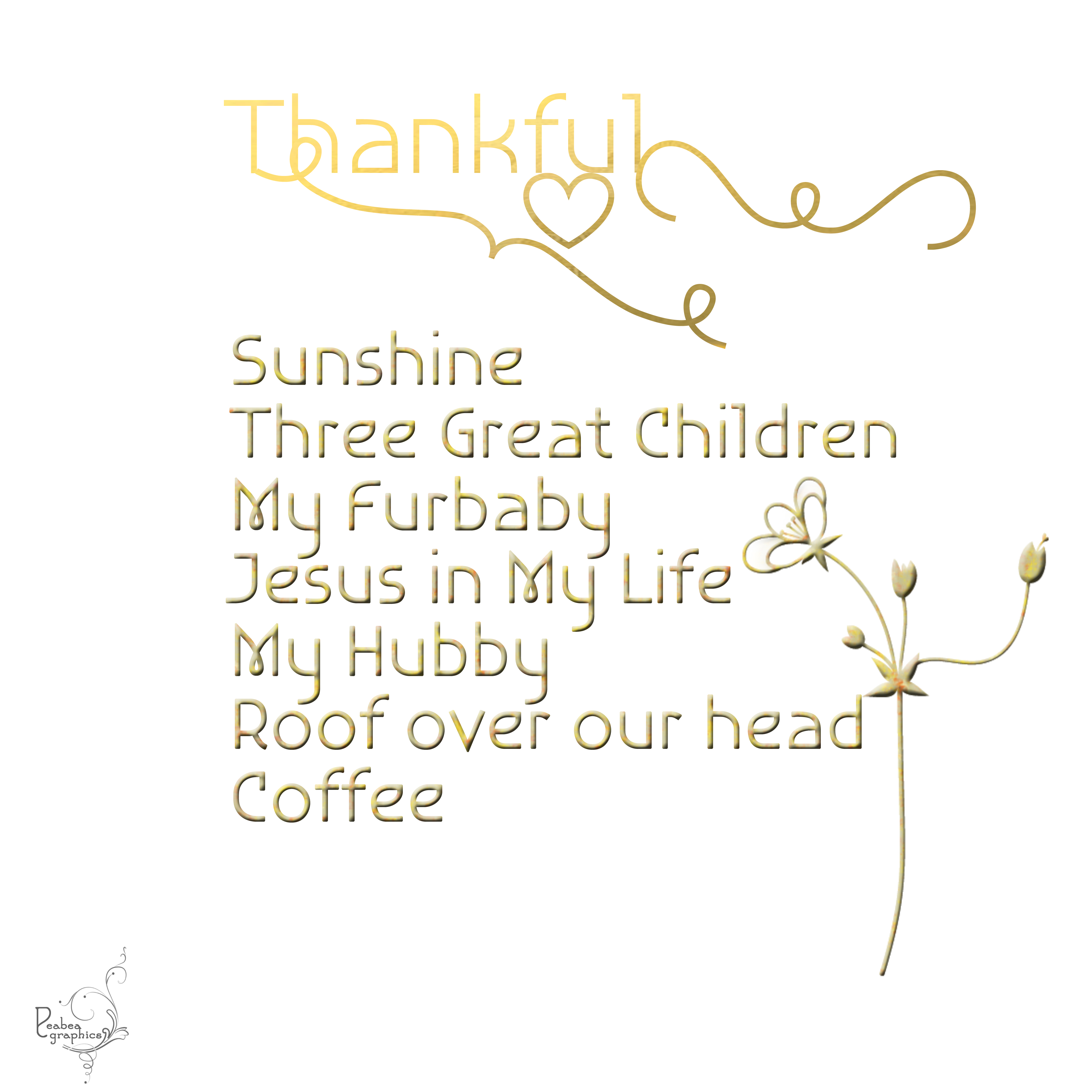 Thankful words in gold